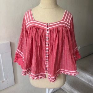 Free People Cropped Striped Peasant Top NWOT